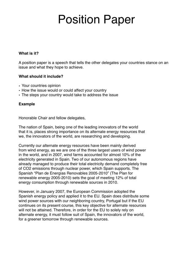 Sample position paper united nations association of the